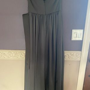 Charcoal strapless brides maid dress